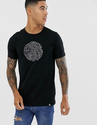 Crew Neck Pullovers Paisley Cotton Short Sleeves