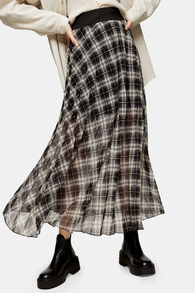 Other Plaid Patterns Casual Style Maxi Pleated Skirts Long