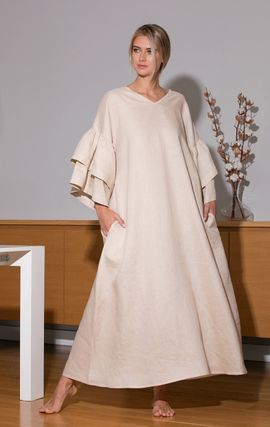 Maxi Linen V-Neck Long Sleeves Plain Long Party Style