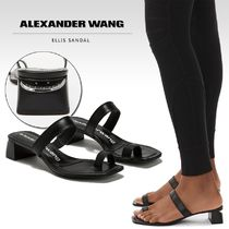 Alexander Wang Open Toe Square Toe Casual Style Plain Leather Block Heels