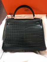 HERMES Kelly Crocodile 2WAY 3WAY Leather Handmade Party Style