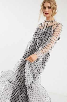 Dots Casual Style Maxi Long Sleeves Long Party Style