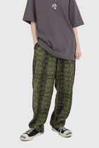 Raucohouse Printed Pants Unisex Street Style Cotton Python