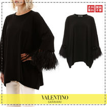 VALENTINO Crew Neck Long Sleeves Cotton Medium Oversized Puff Sleeves