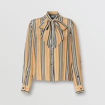 Burberry Stripes Casual Style Silk Long Sleeves Medium Office Style