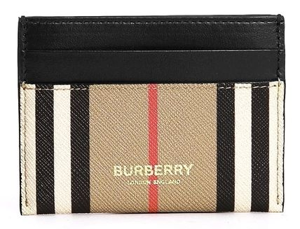 Burberry Logo Other Plaid Patterns PVC Clothing Card Holders