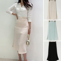 Pencil Skirts Casual Style Plain Long Party Style