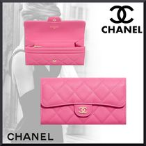 CHANEL Unisex Calfskin Plain Folding Wallet Bridal Logo