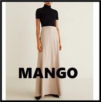 MANGO Flared Skirts Casual Style Pleated Skirts Long Office Style