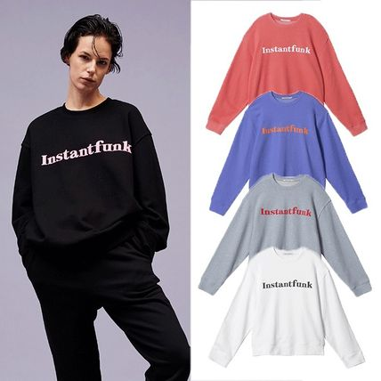Unisex Street Style Long Sleeves Plain Cotton Logo