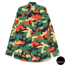VALENTINO Camouflage Long Sleeves Cotton Oversized Shirts