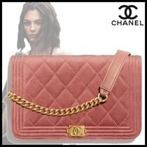 CHANEL Chain Plain Leather Chain Wallet Logo Icy Color Long Wallets