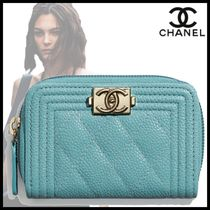 CHANEL Calfskin Plain Leather Long Wallet  Logo Icy Color