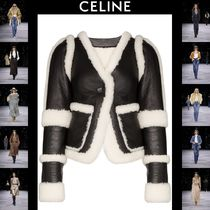 CELINE Short Casual Style Plain Leather Shearling Jackets