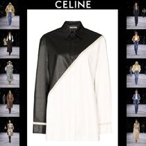 CELINE Casual Style Street Style Long Sleeves Plain Leather Long