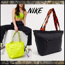 Nike Casual Style Unisex Street Style Plain Logo Neon Color Totes