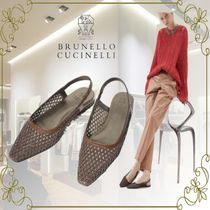 BRUNELLO CUCINELLI Casual Style Plain Leather Office Style Elegant Style Flats