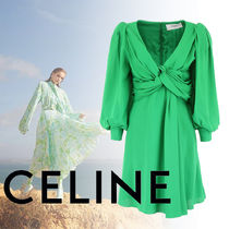 CELINE Casual Style Silk Blended Fabrics Flared V-Neck Long Sleeves