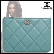 CHANEL Chain Plain Leather Logo Icy Color Pouches & Cosmetic Bags