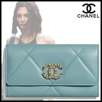 CHANEL Chain Plain Leather Logo Icy Color Long Wallets