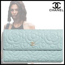 CHANEL Flower Patterns Plain Leather Logo Icy Color Long Wallets