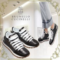 BRUNELLO CUCINELLI Casual Style Plain Leather Logo Low-Top Sneakers