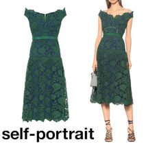 SELF PORTRAIT Flower Patterns Flared Medium Party Style Midi Lace