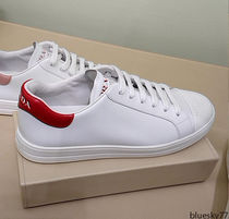 PRADA Casual Style Unisex Plain Leather Logo Low-Top Sneakers