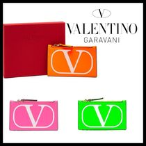 VALENTINO Unisex Leather Long Wallet  Small Wallet Logo Neon Color