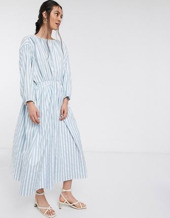 Stripes Casual Style Maxi Long Sleeves High-Neck Dresses