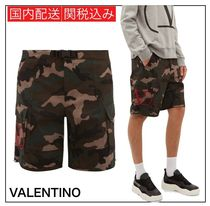 VALENTINO Camouflage Street Style Cotton Logo Military Shorts