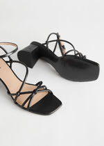 & Other Stories Square Toe Plain Leather Heeled Sandals