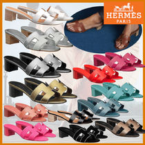 HERMES Open Toe Casual Style Suede Blended Fabrics Plain Leather