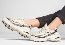 SKECHERS Round Toe Rubber Sole Casual Style Street Style