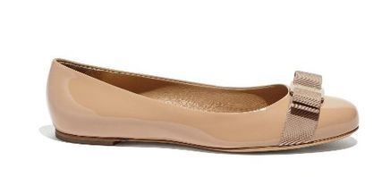 Salvatore Ferragamo Plain Leather Bold Bridal Ballet Shoes