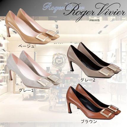 Roger Vivier Square Toe Casual Style Enamel Plain Leather Party Style