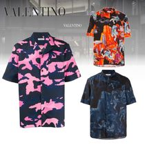 VALENTINO Street Style Cotton Short Sleeves Front Button Shirts