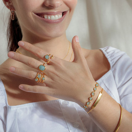 Monica Vinader Rings Costume Jewelry Casual Style Party Style Elegant Style 3