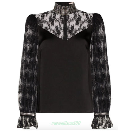 Lace-up Long Sleeves Lace With Jewels Elegant Style