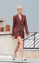 CHANEL Other Plaid Patterns Silk Tweed Blended Fabrics Co-ord