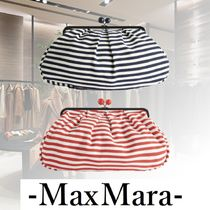 Weekend Max Mara Stripes Casual Style Blended Fabrics A4 2WAY Chain Leather