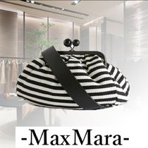 Weekend Max Mara Stripes Casual Style Blended Fabrics 2WAY Chain Leather