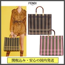 FENDI Stripes Monogram Casual Style Canvas A4 Office Style