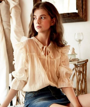 Casual Style Plain Cotton Lace Office Style Shirts & Blouses