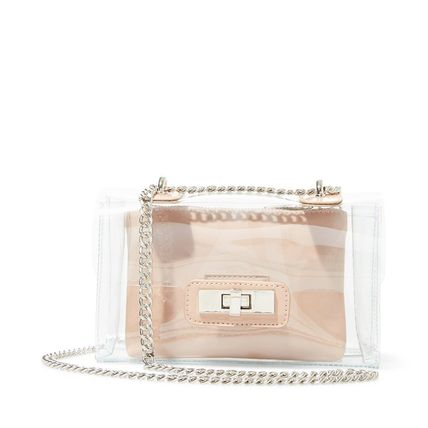Casual Style 2WAY Chain Plain Party Style Crystal Clear Bags
