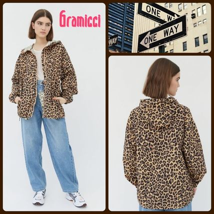 Short Leopard Patterns Casual Style Nylon Street Style