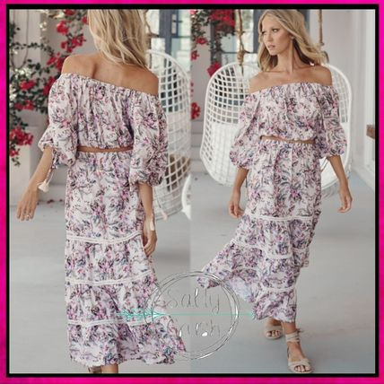 Flower Patterns Casual Style Flared Cropped Long