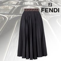 FENDI Pleated Skirts Cotton Medium Elegant Style Midi Skirts