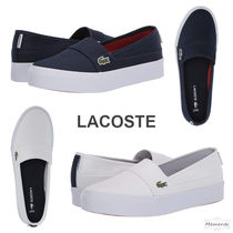 LACOSTE Round Toe Casual Style Unisex Plain Logo Low-Top Sneakers