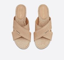 Christian Dior Open Toe Rubber Sole Casual Style Slippers Mules Logo